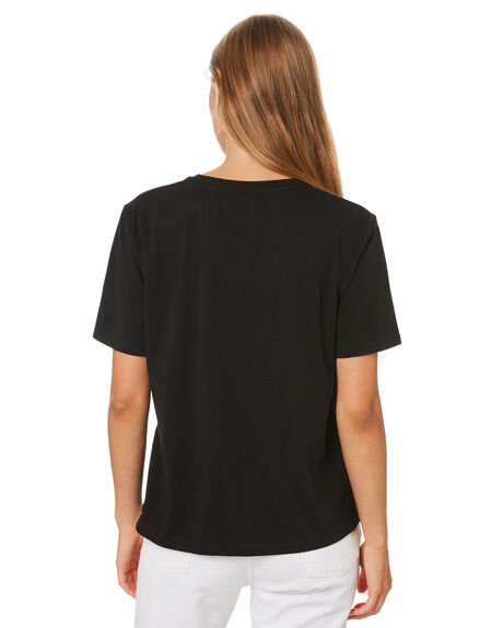 BLACK WOMENS CLOTHING HUFFER TEES - WTE01S4121BLK