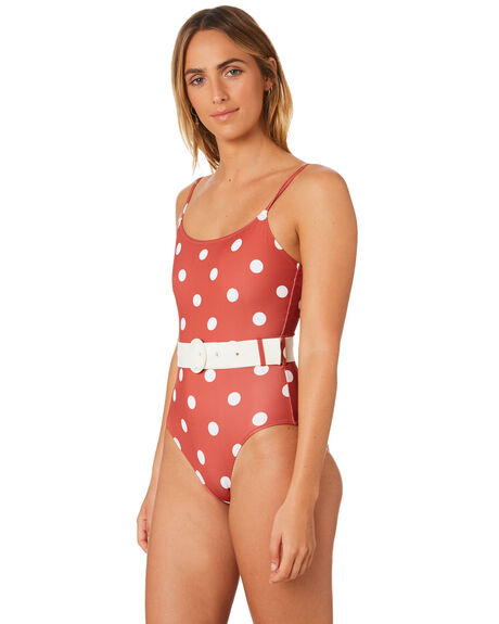 RIAD CREAM SMALL DOT WOMENS SWIMWEAR SOLID AND STRIPED ONE PIECES - WS-2091-1556RDCRM