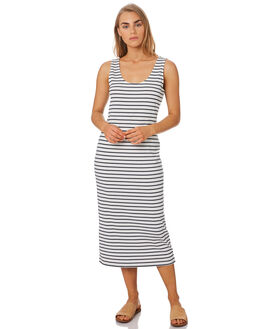 NAVY WHITE STRIPE WOMENS CLOTHING ELWOOD DRESSES - W94730AV0