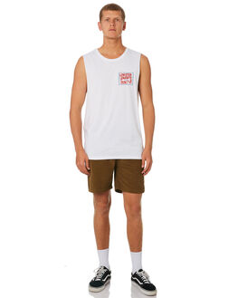 WHITE MENS CLOTHING THE LOBSTER SHANTY SINGLETS - LBSCLASMUSWHT