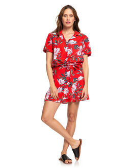 CHINESE RED TROPICAL WOMENS CLOTHING ROXY FASHION TOPS - ERJWT03368-RQQ8