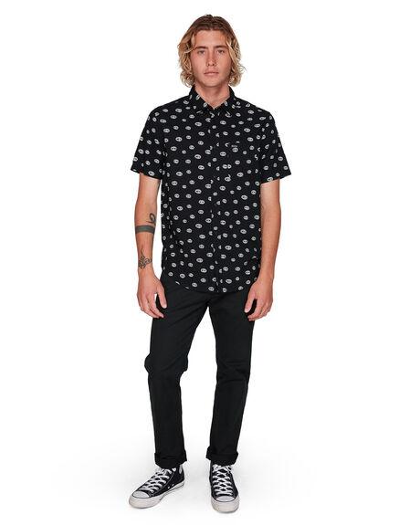 BLACK MENS CLOTHING RVCA SHIRTS - RV-R308183-BLK