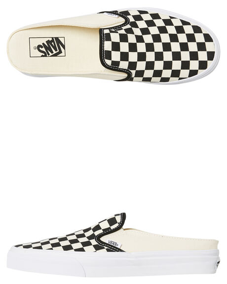 0e4f0a61e1cb91 Vans Womens Classic Slip On Mule Checkerboard - Black True White ...