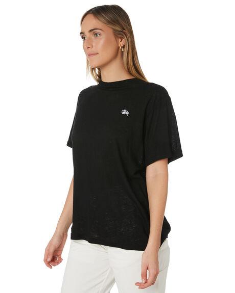 BLACK WOMENS CLOTHING STUSSY TEES - ST191002BLK