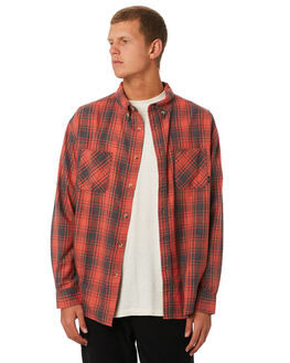RED CHECK MENS CLOTHING THRILLS SHIRTS - TW9-216HZRDCHK