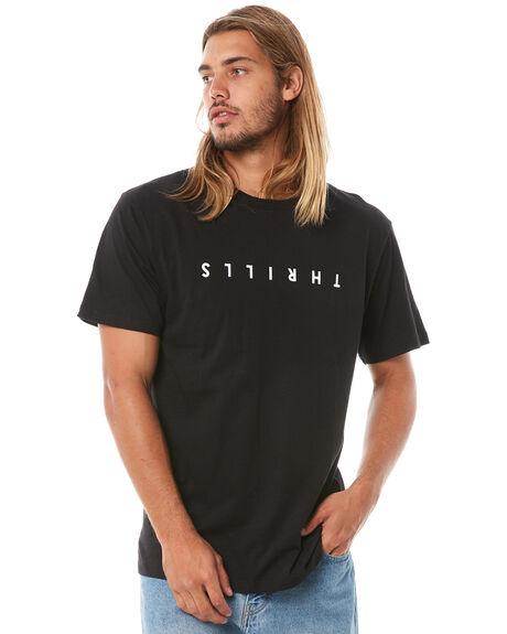 BLACK MENS CLOTHING THRILLS TEES - TA8-106BBLK