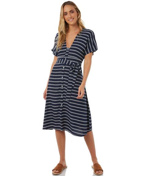 NAVY STRIPE WOMENS CLOTHING LILYA DRESSES - RVD40-PRLAW18NVYST