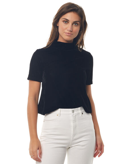 BLACK WOMENS CLOTHING AFENDS FASHION TOPS - W181104BLK