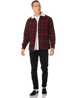 RED BLACK CHECK MENS CLOTHING SILENT THEORY JACKETS - 4034048.RED