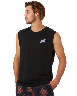 BLACK MENS CLOTHING SANTA CRUZ SINGLETS - SC-MTA0479BLK