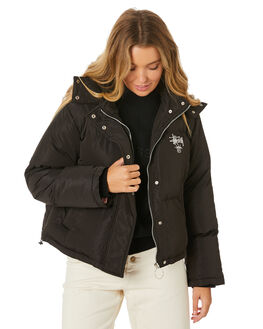 BLACK WOMENS CLOTHING STUSSY JACKETS - ST106701BLK