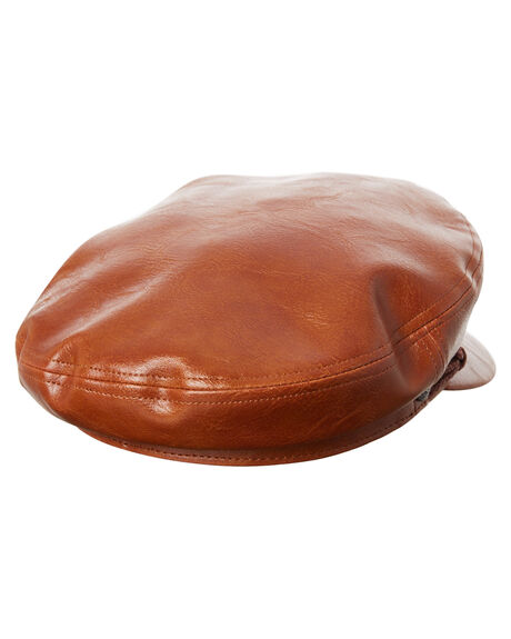 TAN VEGAN LEATHER OUTLET MENS BRIXTON HEADWEAR - 00785TANVL