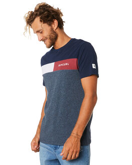 NAVY MARLE MENS CLOTHING RIP CURL TEES - CTESG23277