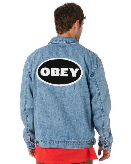 LIGHT INDIGO MENS CLOTHING OBEY JACKETS - 121800368LIN