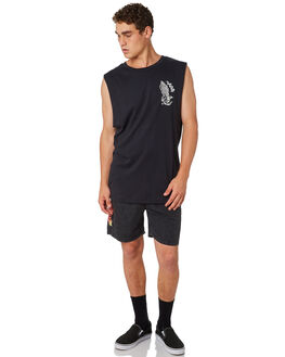 BLACK MENS CLOTHING SANTA CRUZ SINGLETS - SC-MTC7587BLK