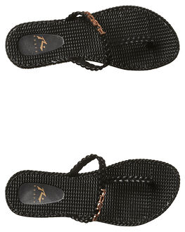BLACK ROSE GOLD WOMENS FOOTWEAR RUSTY THONGS - FOL0268BK2