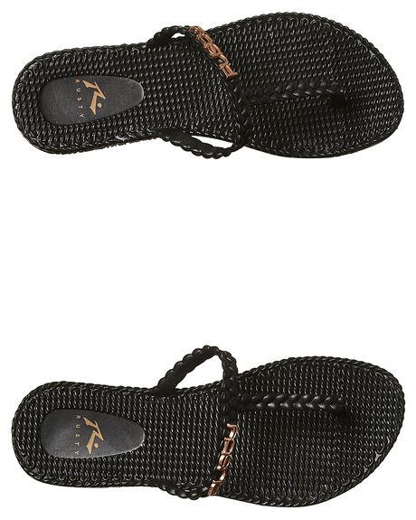 BLACK ROSE GOLD WOMENS FOOTWEAR RUSTY THONGS - FOL0268BK2