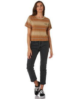 TAN FADE STRIPE WOMENS CLOTHING THRILLS TEES - WTW9-110CZTANFS