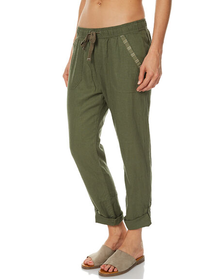 DUSTY OLIVE WOMENS CLOTHING ROXY PANTS - ERJNP03121GPB0