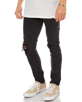 FADED BLACK MENS CLOTHING THRILLS JEANS - TDP-402BFBLK
