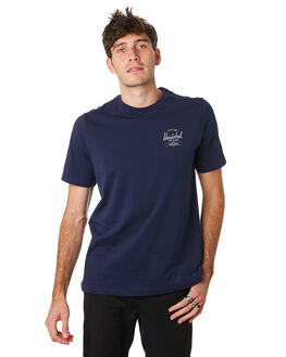 GREY HEATHER WHITE MENS CLOTHING HERSCHEL SUPPLY CO TEES - 50027-00382GRYWH
