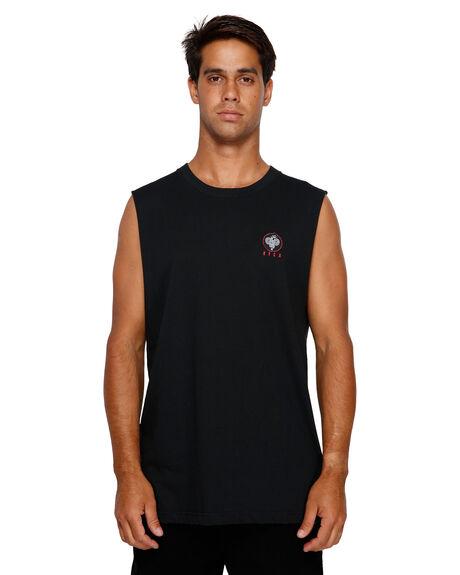 BLACK MENS CLOTHING RVCA SINGLETS - RV-R191011-BLK