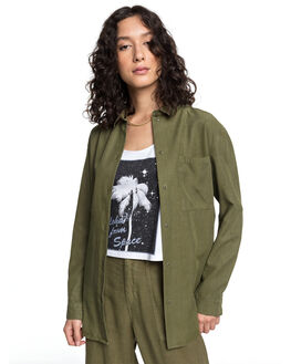 BURNT OLIVE WOMENS CLOTHING QUIKSILVER FASHION TOPS - EQWWT03030-GPZ0