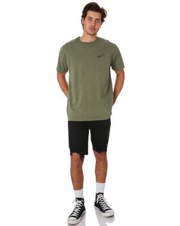 ARMY GREEN MENS CLOTHING THRILLS TEES - TS9-127FARGRN