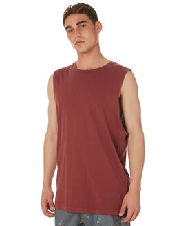BORDEAUX MENS CLOTHING RVCA SINGLETS - R181013BRDX