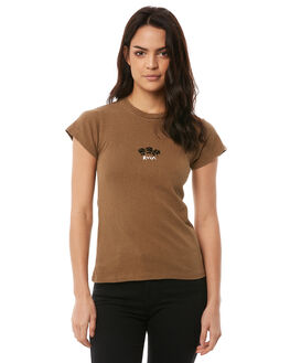 TOBACCO WOMENS CLOTHING RVCA TEES - R284683TOBA
