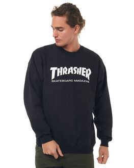 BLACK MENS CLOTHING THRASHER JUMPERS - 20265023BLK
