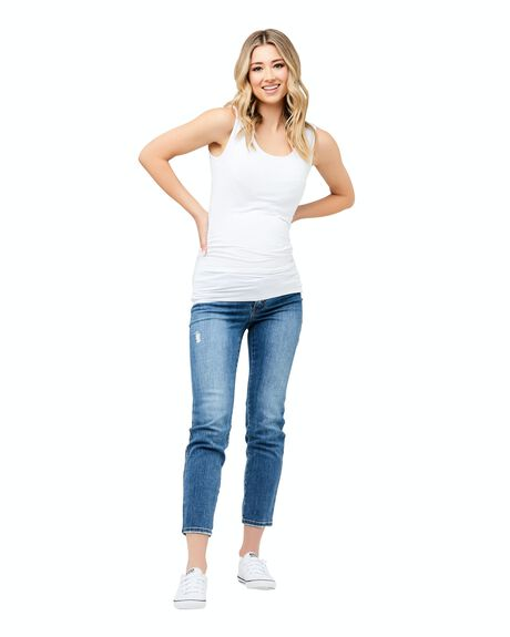 WHITE WOMENS CLOTHING RIPE MATERNITY SINGLETS - S6005-WHITE-XS