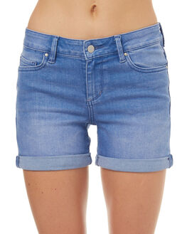 MISGUIDED BLUE WOMENS CLOTHING RIDERS BY LEE SHORTS - R-551316-DP8