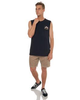BLACK MENS CLOTHING RUSTY SINGLETS - MSM0221BLK