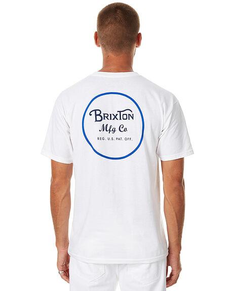 WHITE BLUE MENS CLOTHING BRIXTON TEES - 06452WHBLU