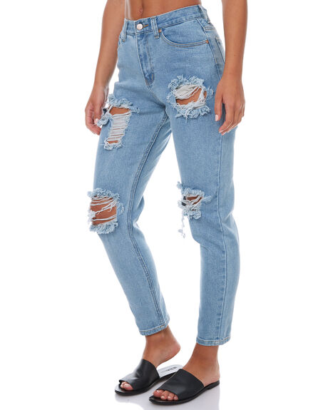 STONE BLUE WOMENS CLOTHING AFENDS JEANS - 53-02-012STB