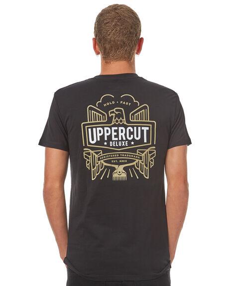 BLACK WHITE MENS CLOTHING UPPERCUT TEES - UPDTS0364BLKWH