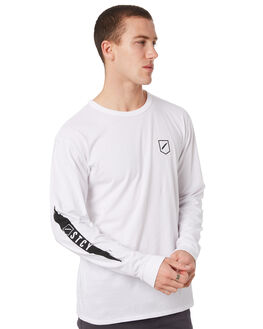 WHITE MENS CLOTHING STACEY TEES - STTEESLASH2LSWHT
