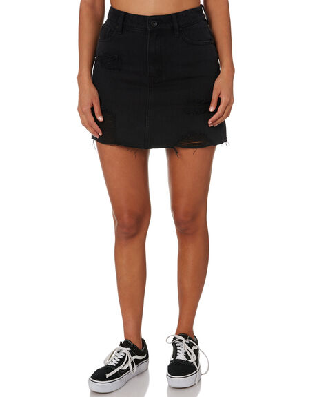 WASHED BLACK WOMENS CLOTHING SILENT THEORY SKIRTS - 6093120BLK