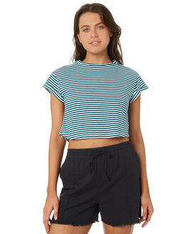 TEAL WHITE OUTLET WOMENS SILENT THEORY TEES - 6070064TEAL