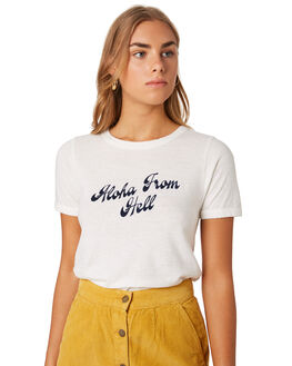 DIRTY WHITE WOMENS CLOTHING THRILLS TEES - WTS9-120AWHI