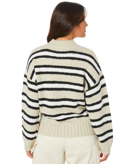 SAND STRIPE WOMENS CLOTHING MISFIT KNITS + CARDIGANS - MT105300_SANDS
