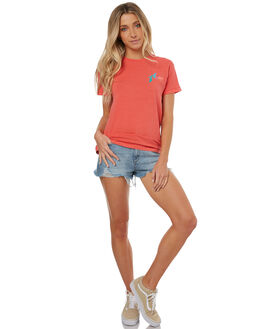 HOT CORAL WOMENS CLOTHING RUSTY TEES - TTL0874HCL