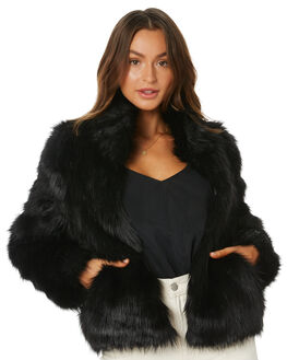 BLACK WOMENS CLOTHING UNREAL FUR JACKETS - URF2400235BLK