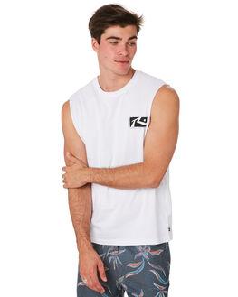 WHITE BLACK MENS CLOTHING RUSTY SINGLETS - MSM0246WHT