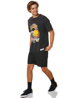 LAKERS BLACK MENS CLOTHING MITCHELL AND NESS TEES - 4173VINTAGECRINGSLAB