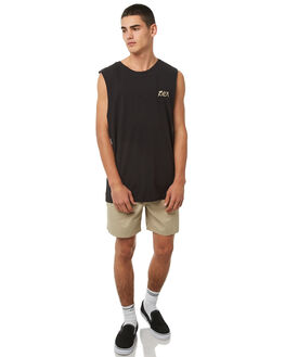 WASHED BLACK MENS CLOTHING RVCA SINGLETS - R181004WBLK