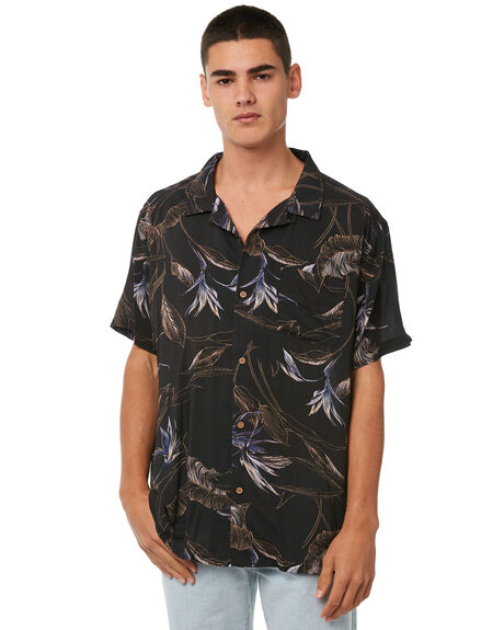 BLACK MENS CLOTHING STUSSY SHIRTS - ST073414BLK