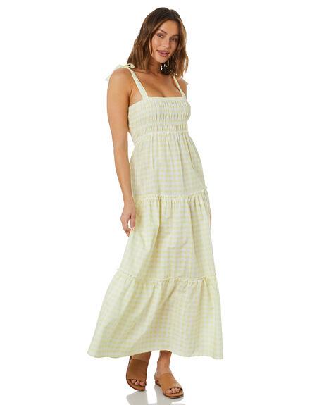 LEMON GINGHAM WOMENS CLOTHING THE HIDDEN WAY DRESSES - H8222455LMGNG