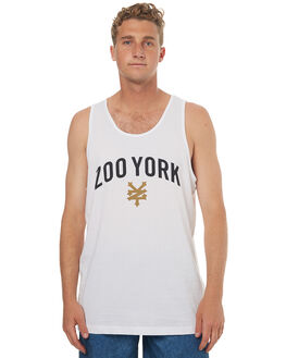 WHITE MENS CLOTHING ZOO YORK SINGLETS - ZY-MTD7091WHT